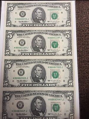 2019 Chinese Year of the PIG Lucky Money US  1995 $5 Bill - S/N 8888