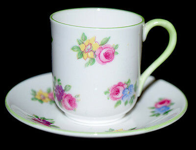 """Shelley """"Yutoi"""" Floral Bouquet Miniature Cup and Saucer Set  (Canterbury Shape)"""