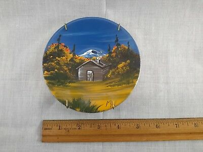 """Vintage Log Cabin In Woods Scene MA Signed Hand Art Oil Painting on 5"""" Tin Bowl"""