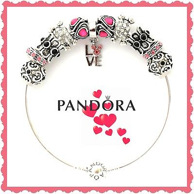 Authentic PANDORA Bracelet Silver Bangle with Pink LOVE European Charms New