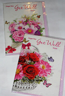 GET WELL CARDS' X 12, just 28p per card, FOILED,WRAPPED, ( B115