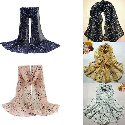Hot Women Lady Musical Dimensions Note Chiffon Neck Scarf Shawl Muffler Scarves