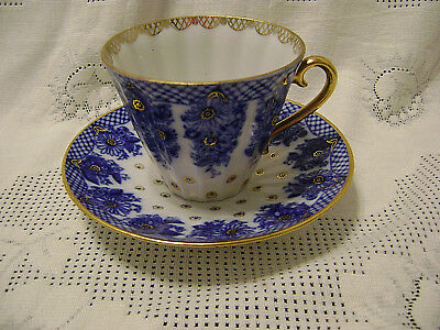 Lomonosov Russian Imperial cobalt blue and gold tea cup & saucer Made in USSR