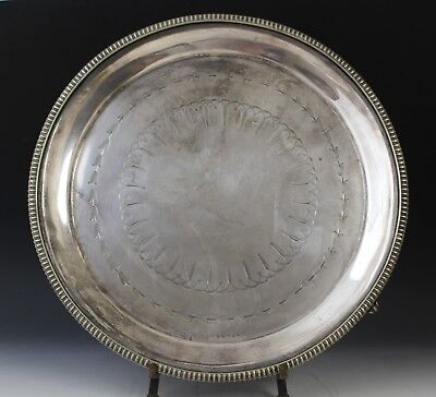 VTG Art Nouveau Silver Plate Round Footed Centerpiece Serving Plate Platter Tray