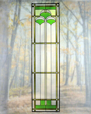 """Arts and Crafts Ginkgo Stained Glass Panel 42"""" x 10.25"""" - Hand Crafted in USA"""