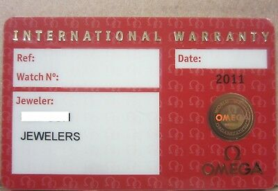 Open Red International Warranty Certificate Card Watch Jeweler Name & Code OMEGA