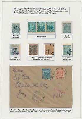 Estonia. 1918. 15 k. Flower issue. Incl. PROOFS and cover. EXHIBITION COLLECTION