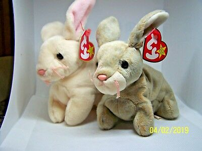TY Beanie Babies NIBBLY NIBBLER Easter Basket Rabbit Bunny MWMT Plush Animal Toy