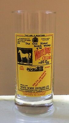 White Horse Scotch Whisky Vtg Tall Glass
