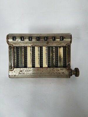 Vintage 1907 Golden Gem Omatic Adding Machine Early Automatic Calculator!