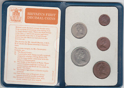 Britains First Decimal Coin Set Uncirculated Complete In Wallet 1968-1971