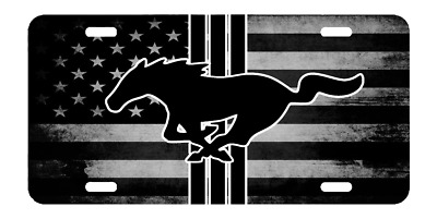 Custom American USA Flag Black And White Ford Mustang Vanity License Plate