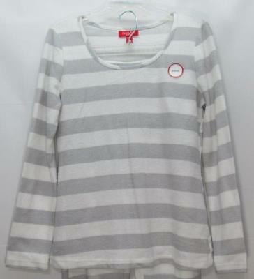 NWT Macy s Family Flannel PJ   Lounge Top Grey   White Striped Size Small 009034ea6