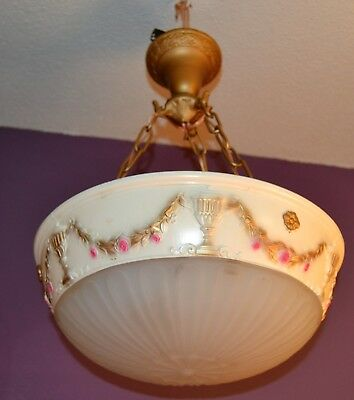"Antique 3 Chain Ornate Pendant Dish Ceiling Light Fixture 16""  Cast Iron"