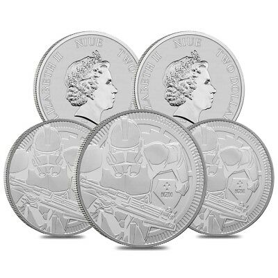 Lot of 5 - 2019 1 oz Niue Silver $2 Star Wars Clone Trooper BU