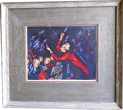 "c1940 Mervin Jules Orchestral Serigraph Signed New York Artist ""The Conductor"""