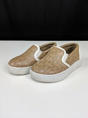 ef8ad25af22b Michael Kors Size 6C Ivy Alita Brown White Logo Leather Slip On Sneakers  Shoes