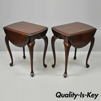 Pair of Ethan Allen Cherry Queen Anne Drop Leaf Small Lamp End Tables