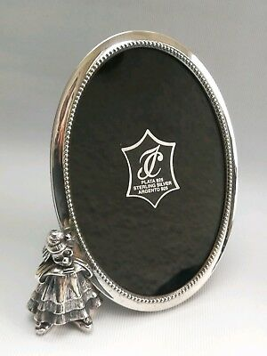 Vtg Isabel Cabanillas Spanish Solid Silver Clown Figure Oval Picture Frame 14cm