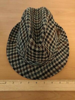 Vintage LL BEAN Wool Houndstooth Pattern Plaid Fedora Hat with feather  size7 1 4 c9230695477d