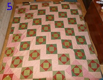 Gorgeous Primitive Antique/vintage Cutter? Quilt! Red/green/dbl Pink Christmas!