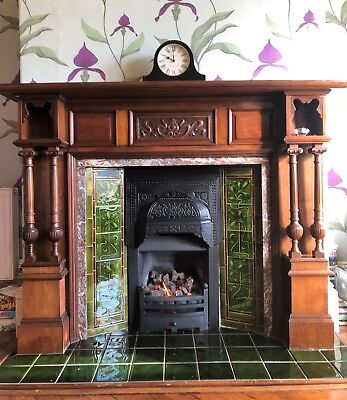 Antique Mahogany fire  surround (H135cm x W176cm) incl green Victorian firetiles