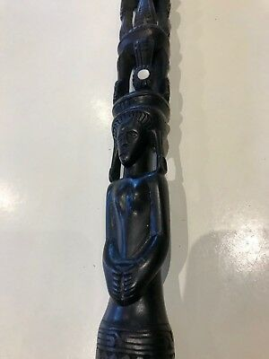 Papua New Guinea Ebony Walking Stick, Beautifully Carved with Pearl Inserts