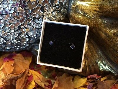 Vibrant natural Royal Blue Sapphire 3mm facet sterling silver stud earrings 💠