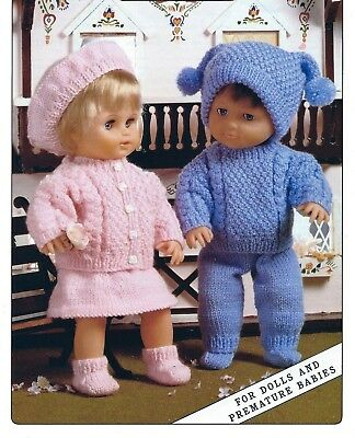 Knitting Pattern 116. Doll's Clothes for 12-22'' Doll Includes Prem Sizes COPY
