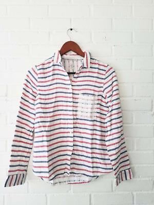 d74a4037be5 MADEWELL BY J CREW Blue White Striped Embroidered Shirt Button Down XS  Stripe