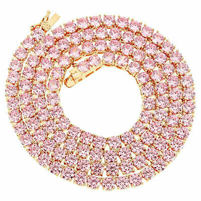 14k Rose Gold Finish 1 Row Necklace Pink Solitaire 4mm Tennis Chain Lab Diamonds