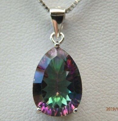 Solid 925 Sterling Silver Rainbow Fire Mystic Topaz Pendant Necklace Chain