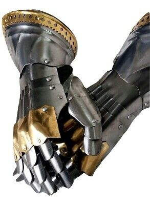 Gauntlets Functional Medieval Knight Armor Gloves Adult Leather Steel SCA Gift