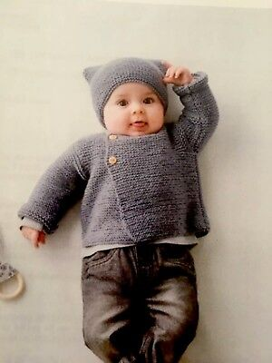 Modern Baby Knitting Pattern Jacket With Beanie Easy Knit. 0-6 Months