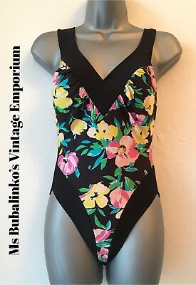 Size 12 14 Vintage Swimsuit 90s Y2K Black Floral Bodysuit Leotard Top