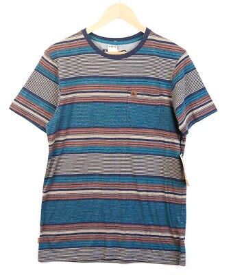 15829011da9 NWT Hippy Tree Mens Vintage Blend T Shirt in Blue Brown Striped - Size Small