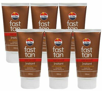 6x LE TAN 150ml Fast Tan Instant Self Tanning Lotion Bulk Pack - Deep Bronze