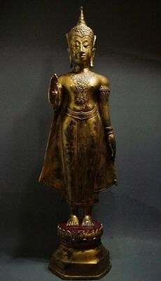 ANTIQUE BRONZE STANDING AYUTTHAYA CROWNED BUDDHA. TEMPLE RELIC 19th C 88.27cm