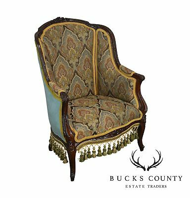 Antique Victorian Louis XV Style Mahogany Bergere Chair