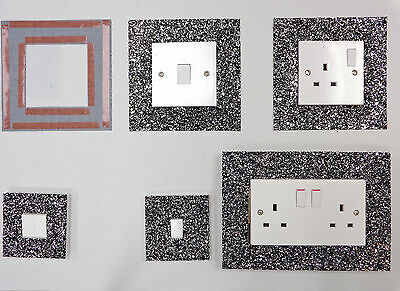 Black Silver Glitter Fabric Switch Socket Covers With Double Side Tape Switches