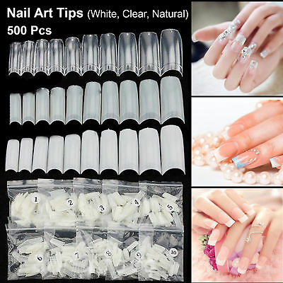 500 Artificial French False Acrylic Nail Art Tips White Clear Natural UV Gel New