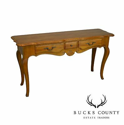 Ethan Allen Country French Maple 3 Drawer Sofa Table Console
