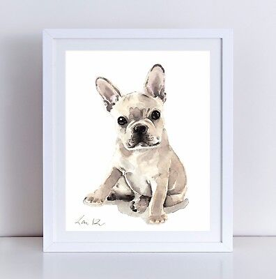 French Bulldog Puppy Unframed Art Print Frenchie Watercolor Painting Dog Gift