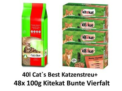Cats Best Original Katzenstreu | 40l plus 48x100g Kitekat Multipack