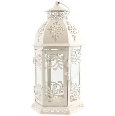 Shabby Chic / Rustic Cream Candle Lantern - Metal and Glass