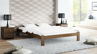 Pinewood Bed Frame Slatted Solid Wood Walnut 3ft Single Double 4ft