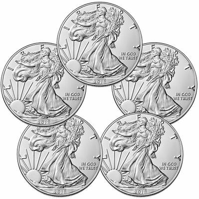 Lot of 5 Coins - 2018 American Silver Eagle $1 GEM Bullion Coin 0.999 Pure