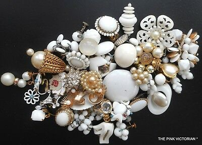 Lot Of 35 Vintage Single Earrings, White, Ivory, Champagne Color,Bridal Bouquet
