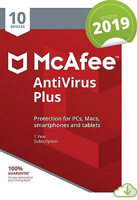 McAfee Anti Virus Plus Software 2019 10 Users/PC NEW 1 Year Licence