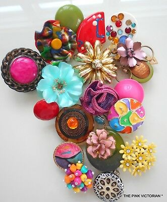 Lot Of 20 Vintage Single Earrings, Colorful *Big* Pieces! Bridal Bouquet Display